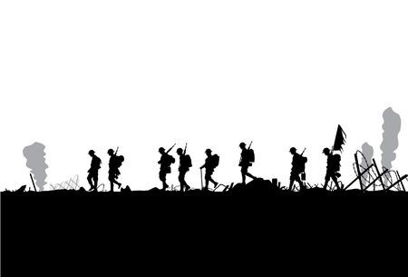 silhouette soldat: Silhouette militaire vaincu dans la guerre Illustration