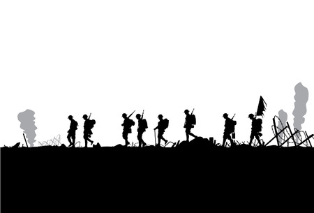 soldiers: Silhouette of military defeated in war