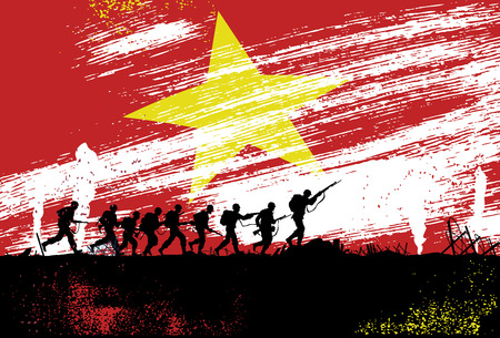 vietnam war: Silhouette of soldiers fighting at war with Vietnam flag as a background