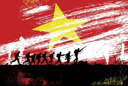 Sylwetka żołnierzy walczących w wojnie z Wietnamem flagą w tle