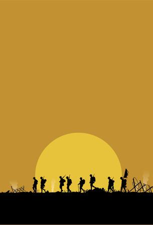 the end of the world: Silhouette of military defeated in war