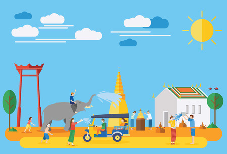 Songkran festival, Thailand New Year, Illustration of people celebrating and throwing water on each other, Flat design Stock Illustratie