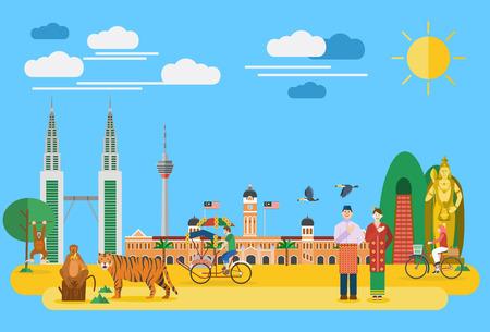 malaysia city: Flat design, Illustration of Malaysias landmarks and icons