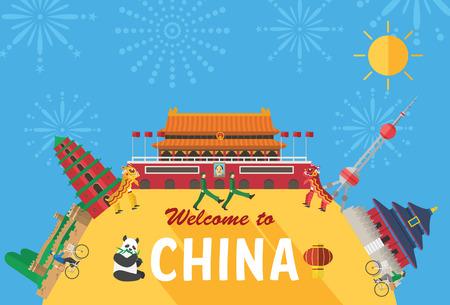 muralla china: Flat design, Illustration of Chinas landmarks and icons Vectores