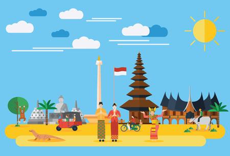 krajina: Plochý design, ilustrace Indonésie ikon a památek