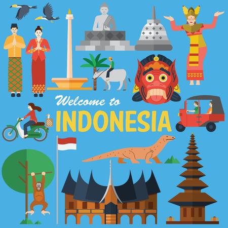 cultura: Diseño plano, Indonesia Ilustración de iconos y puntos de referencia