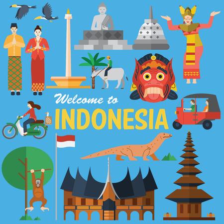 Flat design, Illustration of Indonesia Icons and landmarks