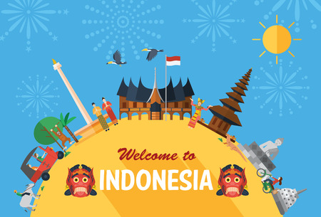 turismo: Design piatto, Illustrazione di Indonesia icone e monumenti Vettoriali