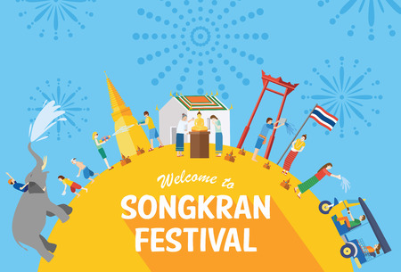 Songkran festival, Thailand New Year, Illustration of people celebrating and throwing water on each other, Flat design Vectores