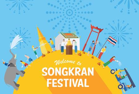 Songkran Festival, Thailandia Capodanno, Illustrazione di persone che celebrano e gettando acqua a vicenda, Design piatto Vettoriali