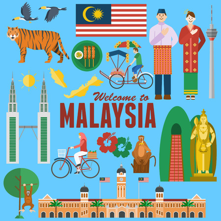 Flat design, Illustration of Malaysias landmarks and icons