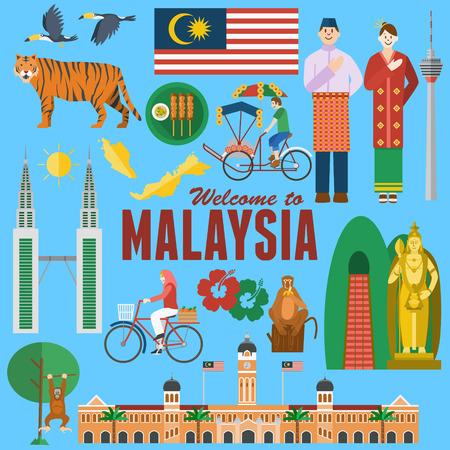 Flat design, Illustration of Malaysias landmarks and icons