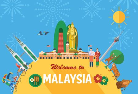 turista: Design piatto, Illustrazione dei simboli e delle icone della Malesia
