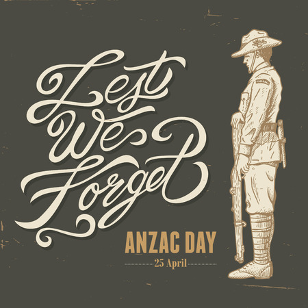 anzac: Hand drawn of WWI soldier standing guard Illustration