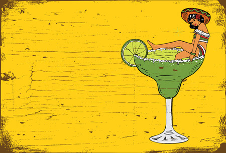 horizontal bar: Vintage Margarita Bar Sign, Illustration of Mexican woman in a margarita glass