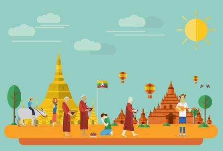 stupa: Flat design, Illustration of Burma landmarks and icons