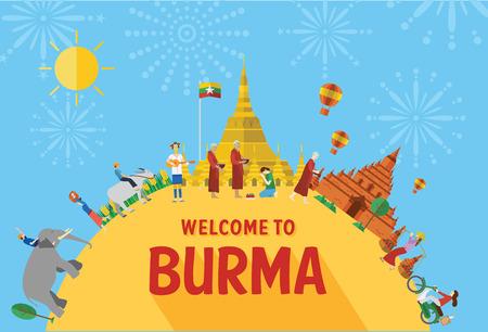 평면 디자인, 버마의 랜드 마크와 아이콘의 그림
