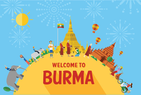 Flat design, Illustration of Burma landmarks and icons