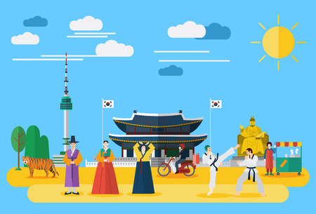 Flat design, Illustration of Korean landmarks and icons