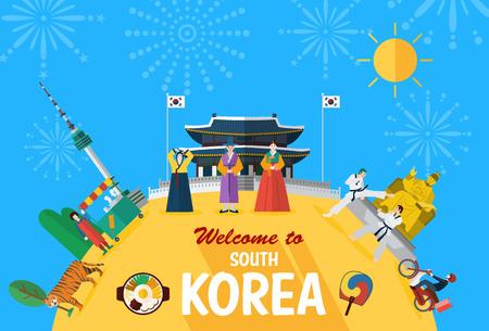 Flat design, Illustration of Korean landmarks and icons