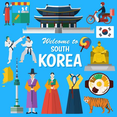 Flaches Design, Illustration der koreanischen Sehenswürdigkeiten und Symbole
