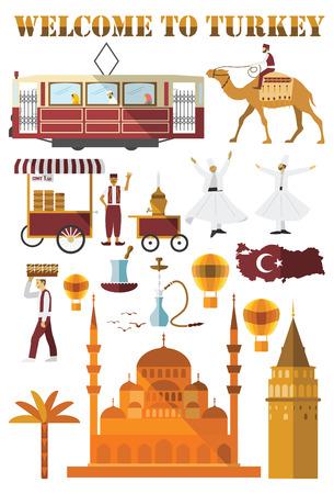 Set van Turkije land iconen. Plat ontwerp