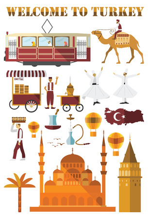 Set of Turkey country icons. Flat design Illustration