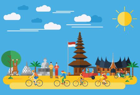 フラットなデザイン、インドネシアで自転車に乗って幸せな家族  イラスト・ベクター素材