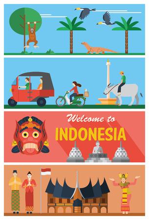 design plat, des repères et des icônes Indonésie Vecteurs