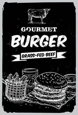 beef burger: Hand drawn beef burger on a chalkboard Illustration