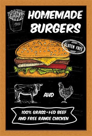 Dibujado a mano hamburguesa en una pizarra