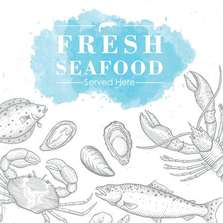 fresh salmon: Hand drawn seafood