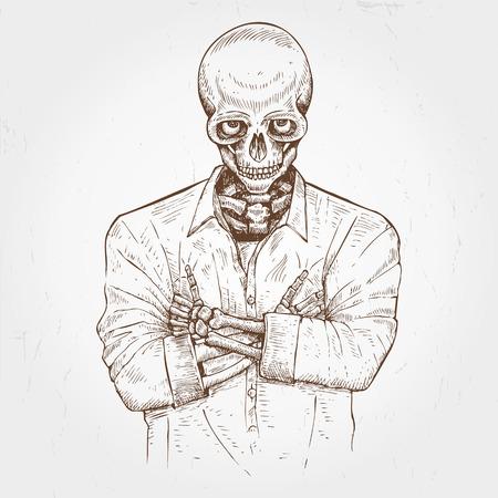 died: Hand drawn skeleton wearing shirt Illustration