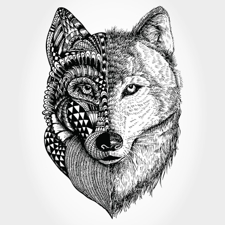 Disegnata a mano testa del lupo stilizzato Vettoriali