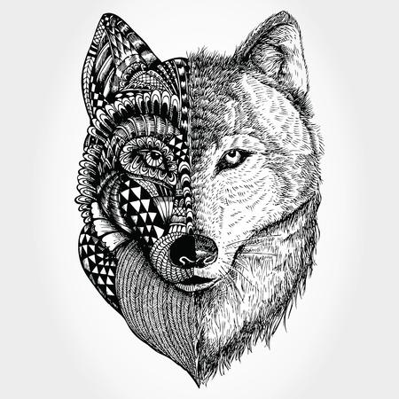 Hand gezeichnet Wolf Kopf stilisiert Vektorgrafik