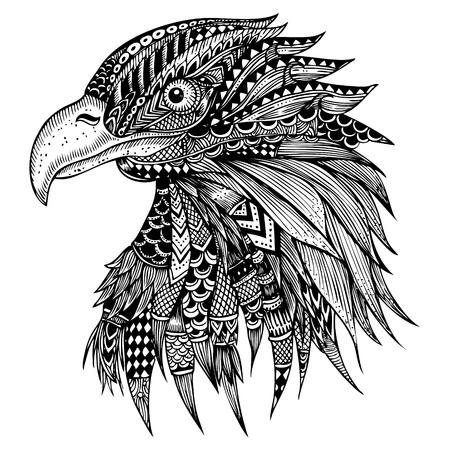 Hand getrokken Eagle head gestileerde Stockfoto - 61001791