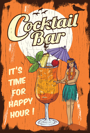 beach bar: Hula girl with a glass of cocktail on a wooden board Illustration