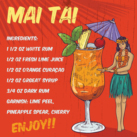 hula girl: Hand drawn hula girl and mai tai cocktail