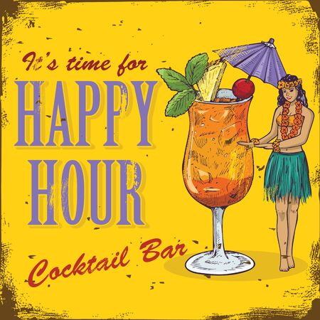 Happy hour sign. Hand drawn hula girl and mai tai cocktail