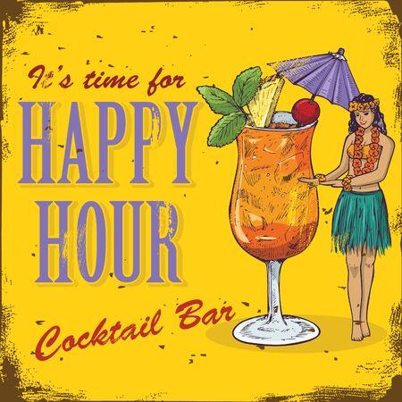hour hand: Happy hour sign. Hand drawn hula girl and mai tai cocktail