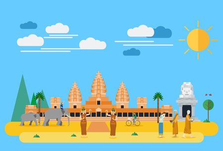 Flat design, Illustration of Cambodia landmarks and icons