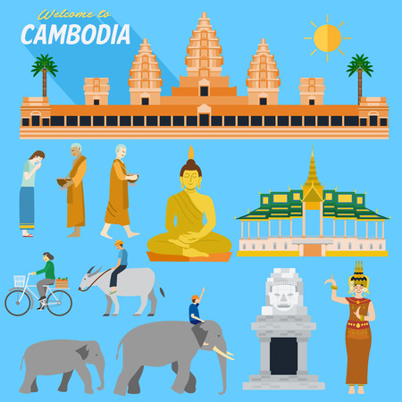 Flat design, Illustration of Cambodia landmarks and icons