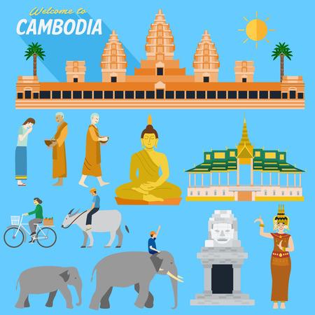 Design piatto, Illustrazione di punti di riferimento Cambogia e icone