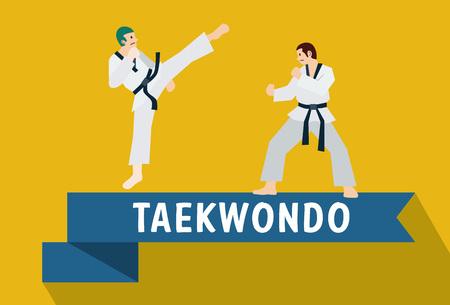 asian couple: Flat design, Illustration of Taekwondo fighters