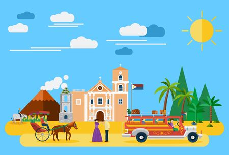 Illustration of Philippiness landmarks and icons Illustration