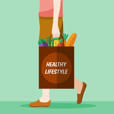 grocery shopping: Illustration of a woman holding grocery shopping bag Illustration