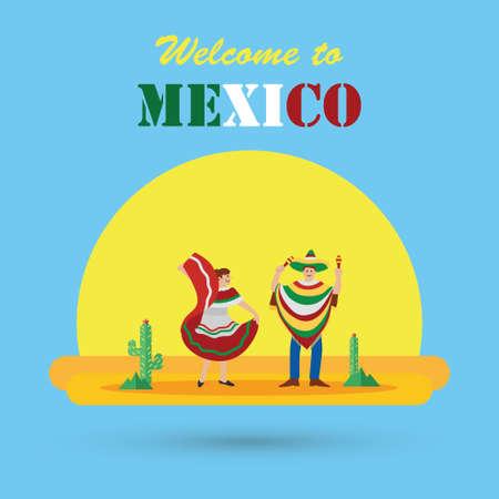 Diseño plano, Cartel de bienvenida en México Foto de archivo - 61002112