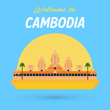 angor: Flat design, Illustration of Angkor Wat in Cambodia