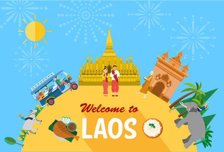 lao: Flat design, Laos landmarks and icons