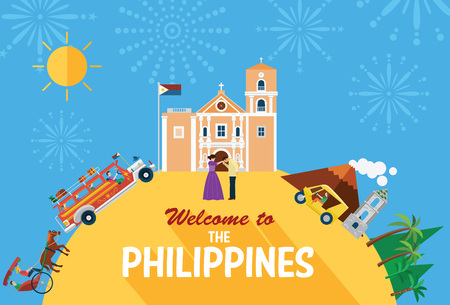 philippines: Illustration of the Philippiness landmarks and icons